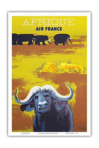 - Pacifica Island Art Africa (Afrique) - Air France - African Wildlife - Vintage Airline Travel Poster by Paul Colin c.1956 - Master Art Print - 12in x 18in