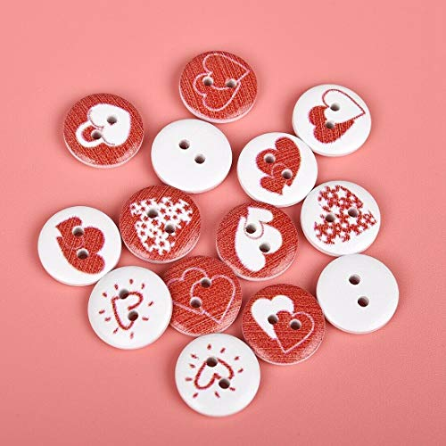 50Pcs Round Mixed Color Buttons Animal Emoji Wooden 2-Holes Flatback Buttons (Buttons-Pattern - Love Heart)