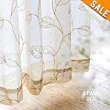 Cheap Leaf Sheer Curtains for Bedroom Curtain Leaf Embroidery Voile Sheer Curtains for Living Room Window Treatment Set 95″ L, Taupe