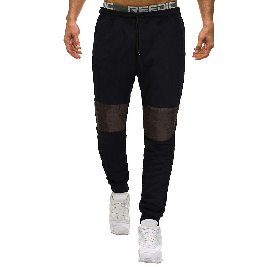 LOVOZO Men's Jeans Casual Pants Athletics Slim Fit Pants Twill Jogger Pants Chino Tapered Sweatpants Black by LOVOZO