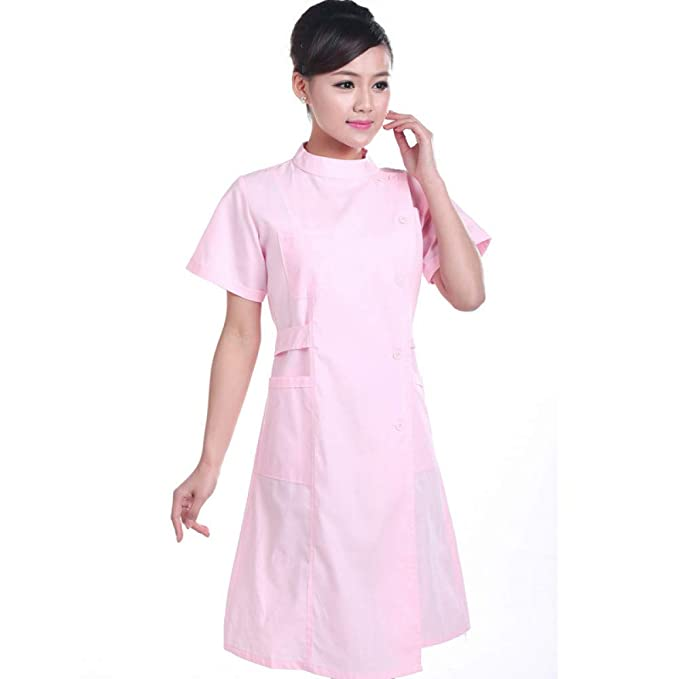 ESENHUANG Verano 2 Color Enfermera Uniforme Médico Robe Hospital Enfermera Uniforme Mujeres Uniformes Médicos Ladies Elegant White Lab Coat: Amazon.es: Ropa ...