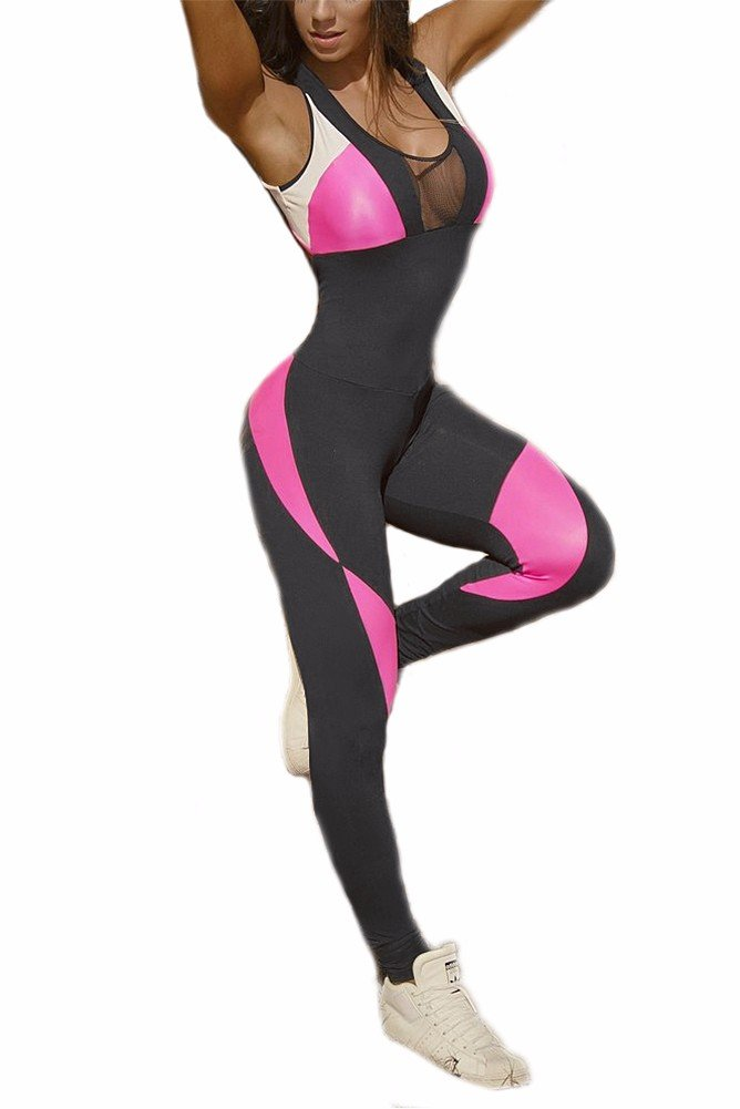 CFR Tight Yoga Bodysuit Sleevesless Backless Sexy Hollow Out Fitness Jumpsuit Black&Pink,M UPS Post