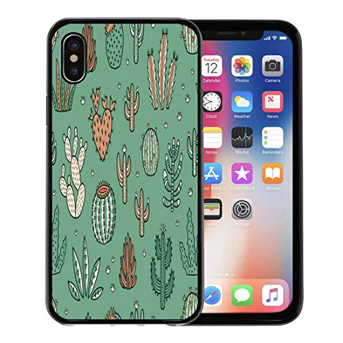 Semtomn Phone Case for Apple iPhone Xs case,Green Cactus Succulents and Cactuses Limited Palette of Colors Floral Baby for iPhone X Case,Rubber Border Protective Case,Black