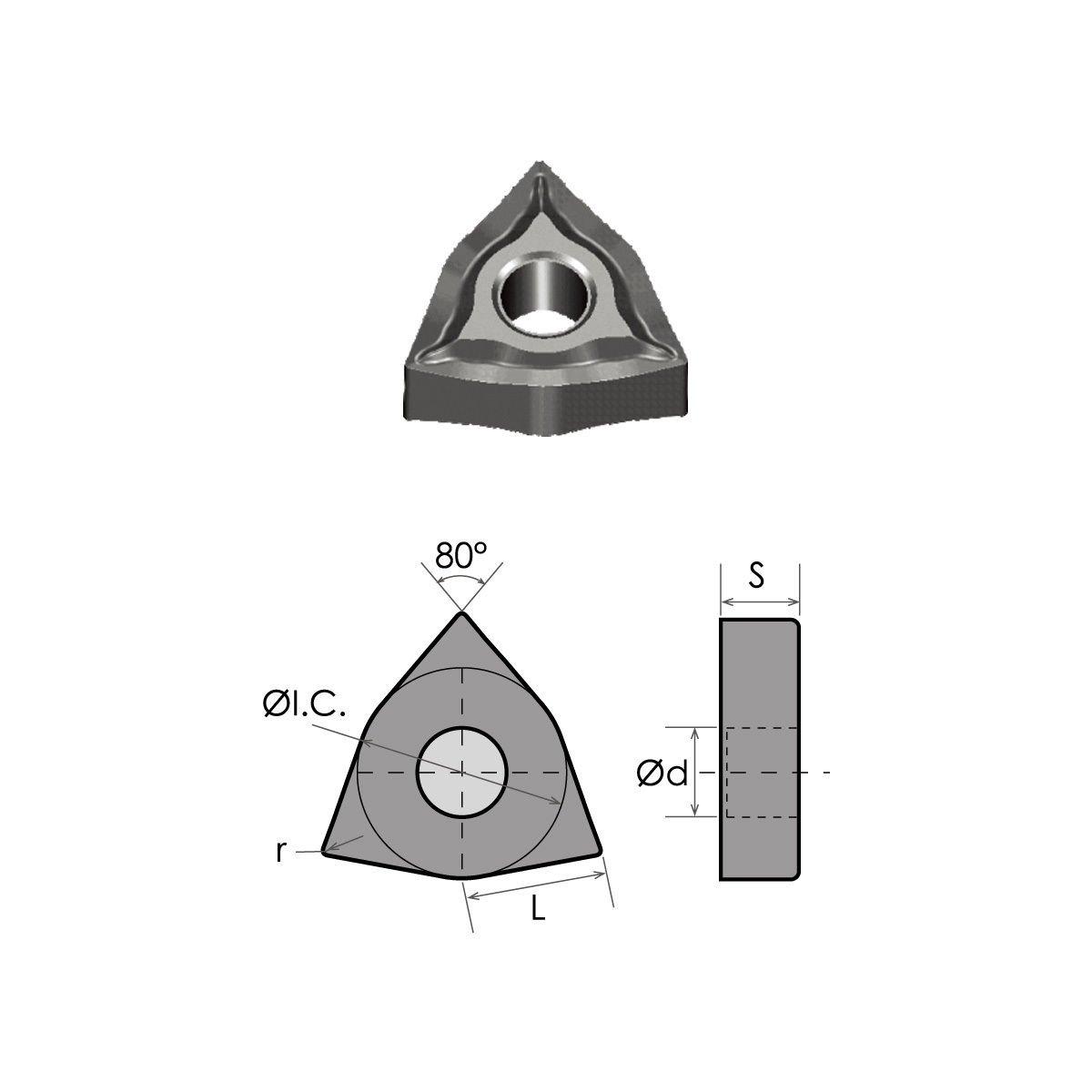 HHIP 6052-0432 WNMG-432-EM nc-TiAIN Coated Carbide Insert-xAF795
