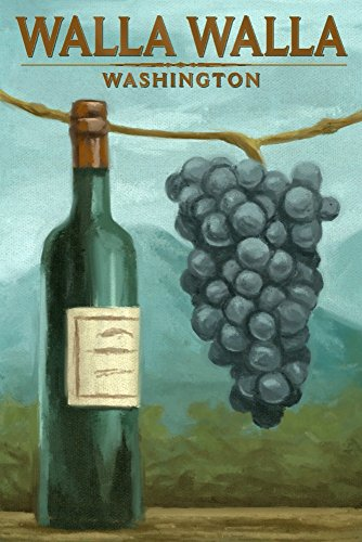 Walla Walla, Washington - Blue Grapes and Wine Bottle - Oil Painting (12x18 Art Print, Wall Decor Travel (Eighteen Bottle Wall)