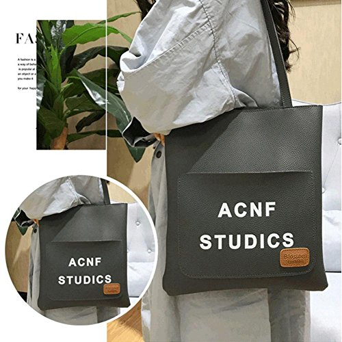 Bag High Aediea Gray Shoulder Quality Bag Women Bucket Handbag Leather Big Solid WgZnZCqw0