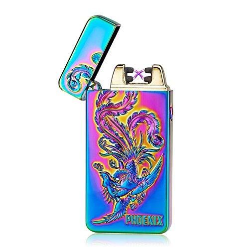 Kivors USB Rechargeable Flameless Electronic Dual Pulse Arc Cigarette Lighter Belief, Colorful Phoenix (Phoenix E Cigarettes)