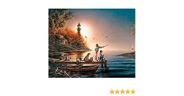 DIY Round Diamond Painting Kits for Adults Full Drill Cross Stitch Black Bears on The Banks of The River Home Decoration 25x20CM