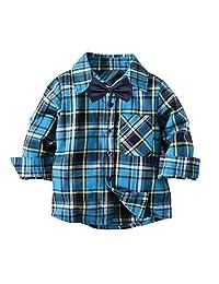 Dinlong Toddler Baby Boy Clothes Long Sleeve Plaid Top Gentlemen T Shirt Blouse