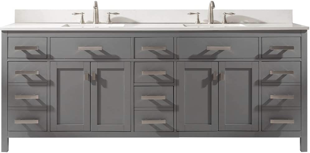 Luca Kitchen Bath Lc84pgw Tuscan 84 Double Bathroom Vanity Set In Pottery White Quartz Top With Gray Veins And Sink