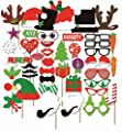 Happy Christmas Photo Booth Props Sticks 50 Pieces, Holiday Day Decoration Santa for Party Supplies - DIY REQUIRED