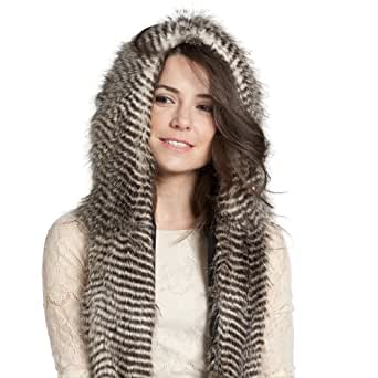 FAUX FUR ANIMAL SKI HATS WINTER SNOW HOODS NIGHT OWL WITH MITTENS UNISEX GLOVES SCARF WITH PAWS