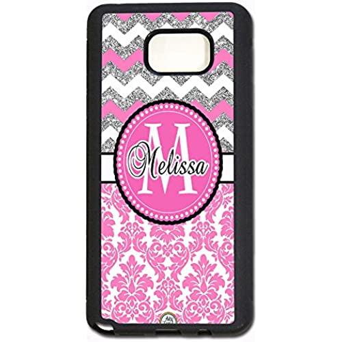 ArtsyCase Pink Damask Silver Chevron Monogram Personalized Name Phone Case - Samsung Galaxy S7 Edge (Black) Sales