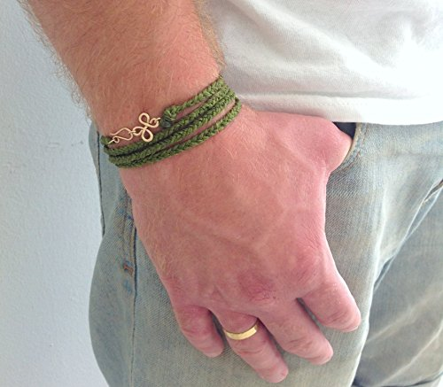Men's Braided Warp Olive Green Cotton Bracelet with Oriental Gold Charm, Artisan Handmade (Cotton Braided Olive)