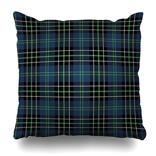 Ahawoso Throw Pillow Cover Style Green Plaid Navy Tartan Check Blue Abstract Checkered Geometric Kilt Pattern Design Home Decor Pillowcase Square Size 18