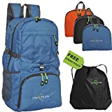#1 TravPack-30L Best Quality Foldable Lightweight Backpack Daypack-Water Resistant with Premium Waterproof Zippers For Active Lifestyle And Travel (Blue)