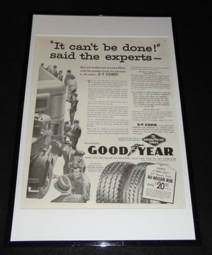 1955 Goodyear Tires 3T Cord Framed 11x17 ORIGINAL Advertising Display from The Steel City Auctions Gallery