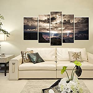 Meigan Art-5 Piece Wall Art Painting Lightning Strikes In The Grand Canyon Dark Cloud Pictures Prints On Canvas Landscape The Picture Decor Oil For Home Modern Decoration Print For Kids Room