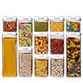 Airtight Food Storage Container Sets - Larger Sizes |Leak Proof & Interchangeable Lids| Pantry Organization| Premium Quality Clear Plastic with White Lids| BPA FREE