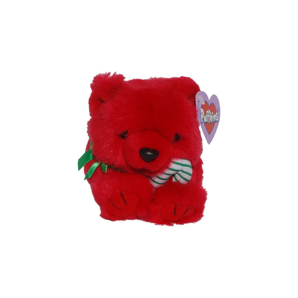 Jangles the Red Christmas Teddy Bear   Puffkins Bean Bag Plush