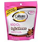 Caltrate 600+D Soft Chews, Chocolate Truffle, 60 Count (2 Pack)