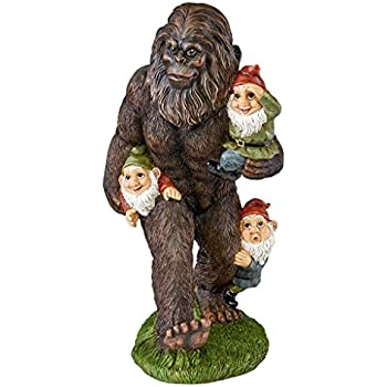 Garden Gnome Statue   Schlepping The Garden Gnomes Bigfoot Statue   Yeti  Statue
