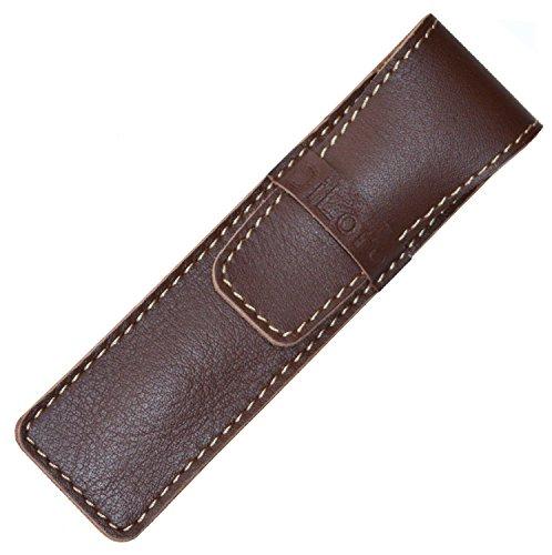 - DiLoro Full Grain Top Quality Thick Buffalo Leather Single Pen Case Holder - Reddish Brown