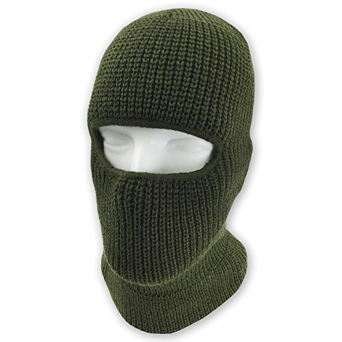 Olive Paintball Mask (grinderPUNCH Double Layered Knitted One Hole Ski Mask - Assorted Colors Tactical Paintball Running (Olive Green))