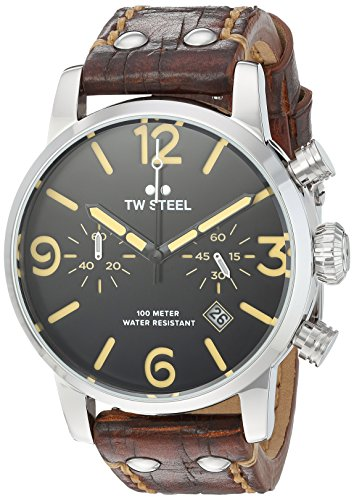 TW Steel Men's 'Maverick' Quartz Stainless and Leather Casual Watch, Color:Brown (Model: MS3)