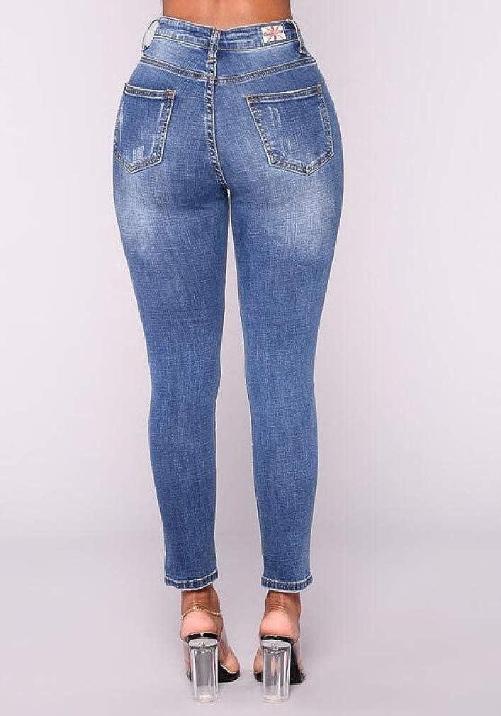 Losait Womens Classic Simple Cargo Pocket Stretch Button Down Pencil Jeans