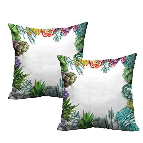 Acelik Succulent Square Lumbar Cushion Cover Frame with Various Succulent Plants Collection Vivid Garden Tropical Nature Image Velvet Soft Soild Decorative 18