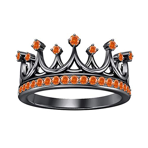 Queen's Tiara Round Orange Sapphire 14K Black Gold Over .925 Sterling Silver Crown Engagement Ring for Women's