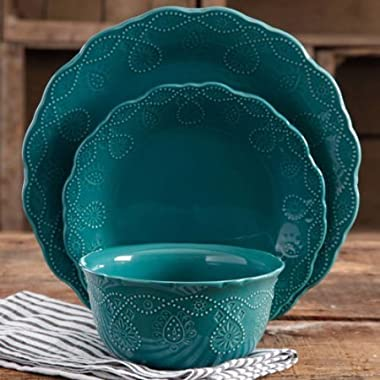 Pioneer Woman Dinnerware Set Ree Drummond 12 Pc Cowgirl Lace (Teal)