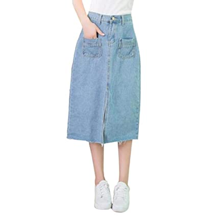 0bec9280099 Image Unavailable. Image not available for. Color  dem.w Women s Maxi  Pencil Jean Skirt- High Waisted A-Line Long Denim