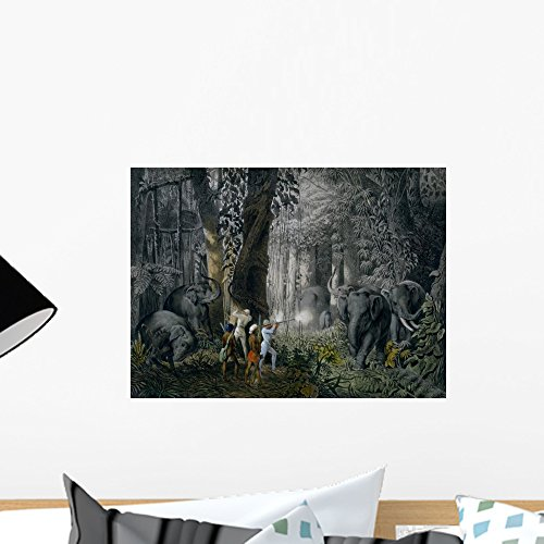 (Lithograph Elephant Hunt after Wall Mural by Wallmonkeys Peel and Stick Graphic (18 in W x 13 in H))