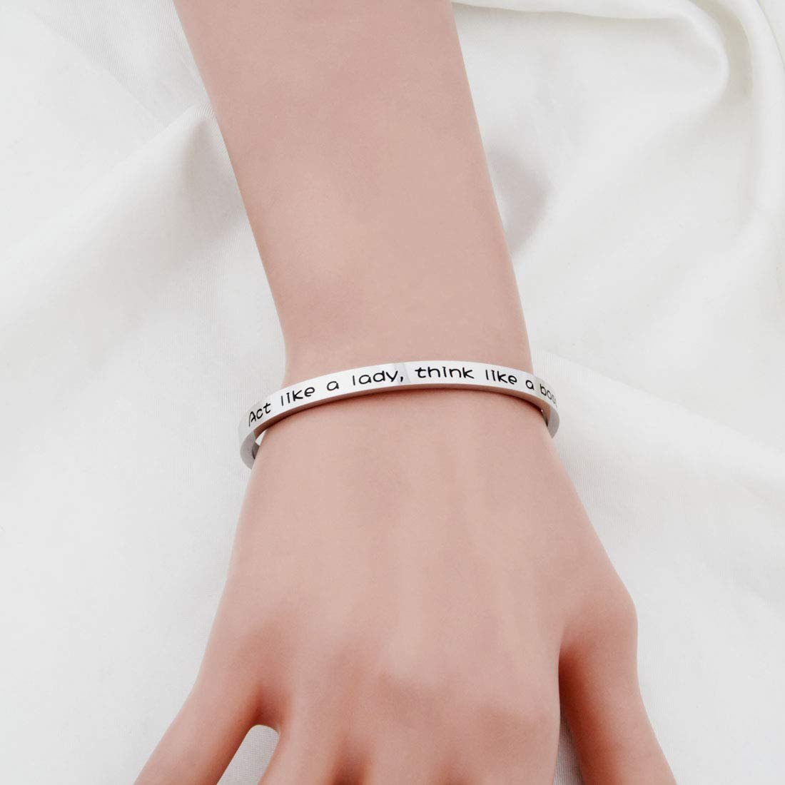 WUSUANED Boss Lady Jewelry Act Like A Lady Think Like A Boss Cuff Bangle Bracelet Girl Boss Gift