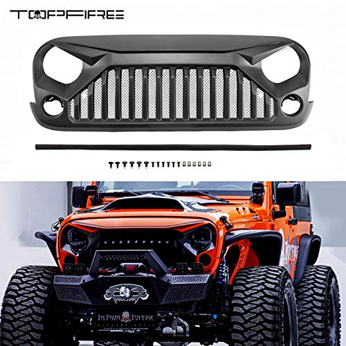 - TOPFIRE Upgraded Front Grill with Strip, Clips and Rivets for Jeep Wrangler Rubicon Sahara Sport JK/JKU 2007-2018 (Matte Black-with Insert Mesh)