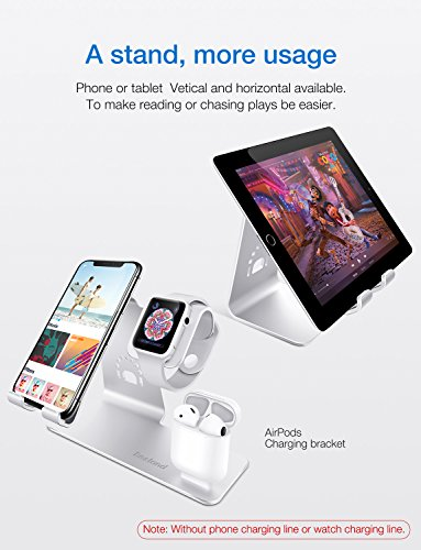 Bestand3-in-1-Apple-iWatch-Stand-Airpods-Charger-Dock-Phone-Desktop-Tablet-Holder-for-Airpods-Apple-Watch-iPhone-X8-Plus8-7-Plus-iPad-SilverPatenting-Airpods-Charging-Case-NOT-Included