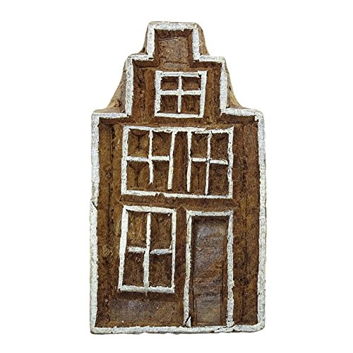 Brown House Handcarved Wooden Decorative Blockprint Textile Printing Block (Blocks Wooden Decorative)