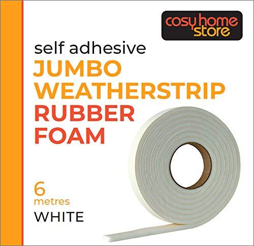 Burlete de espuma de caucho Jumbo (Extra ancho y Extra grueso para espacios má s grandes), 6m de largo, Blanco Stormguard