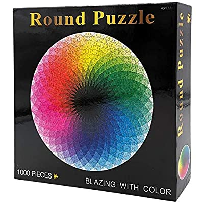 """STEFORD 1000 Piece Circle Jigsaw Puzzles for Adults Kids-Gradient Color Rainbow Large Circle Jigsaw Puzzle Difficult and Challenge 26.6""""x26.6"""": Toys & Games"""