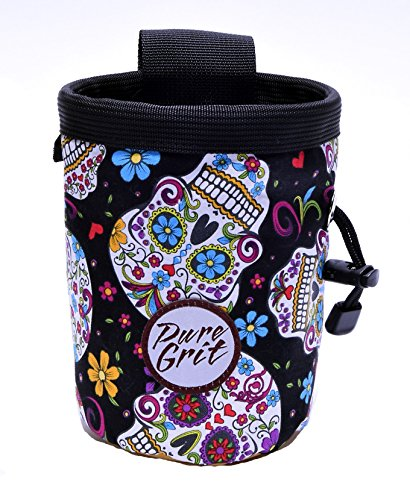 Pure Grit Day of the Dead Sugar Skull Chalk Bag (Made in Usa) with Belt by Pure Grit