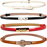 kilofly 4pc Women's PU Leather Adjustable Thin Skinny Belt Waistband Value Pack