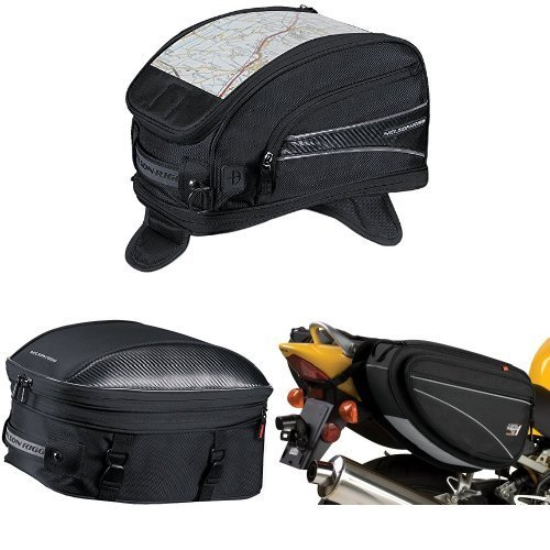 Nelson-Rigg CL-2015-MG Black Magnetic Mount Journey Sport Tank Bag,  CL-1060-ST Black Sport Touring Tail/Seat Pack,  and  CL-950 Black Deluxe Sport Touring Saddle Bag Bundle