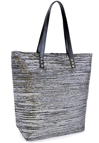 Beach Metallic Large Black Silver Bag Shopping Tote Weave Pool Swim Summer Womens Design IfHwCxqZq