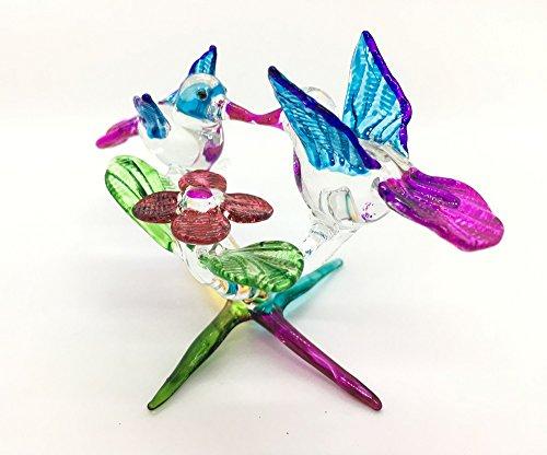 HAND BLOWN Art Glass,Couple Hummingbird Miniature Animals Collection, Dollhouse Miniatures,By Audomna Shop.(N0072)