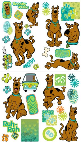 Doo Scooby Sheets - Brewster ST93993 Scooby Doo Peel & Stick Sticker Set by Warner Bros, 4 Sheets