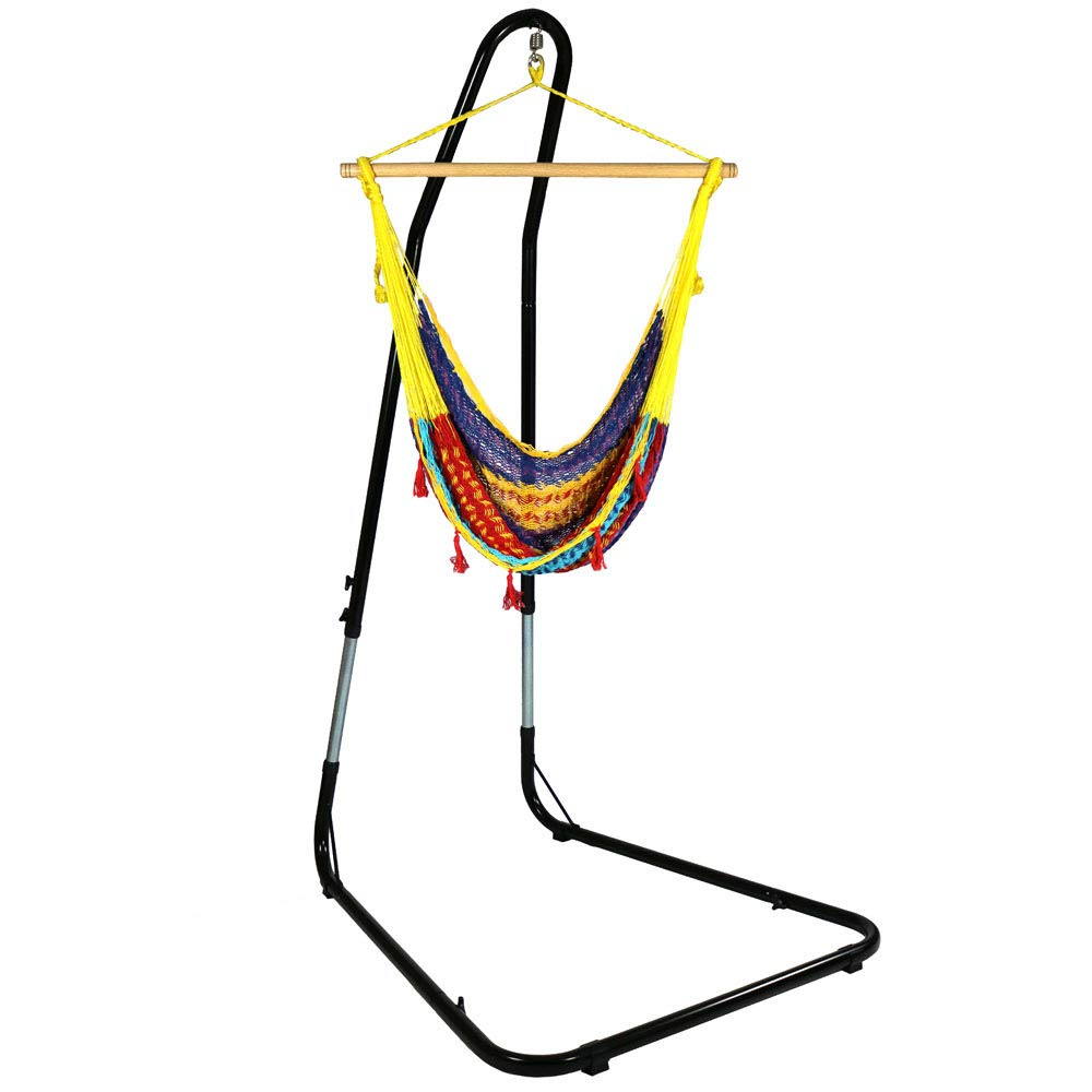 Sunnydaze Large Mayan Hammock Chair with Adjustable Stand, Comfortable Hanging Swing Seat Cotton/Nylon Rope, Lightweight, Includes Wood Bar, Indoor/Outdoor Use, Max Weight: 220 Pounds, Multi-Color