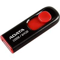 Memoria USB Adata C008, 64GB, USB 2.0, Retráctil, Color Negro/Rojo