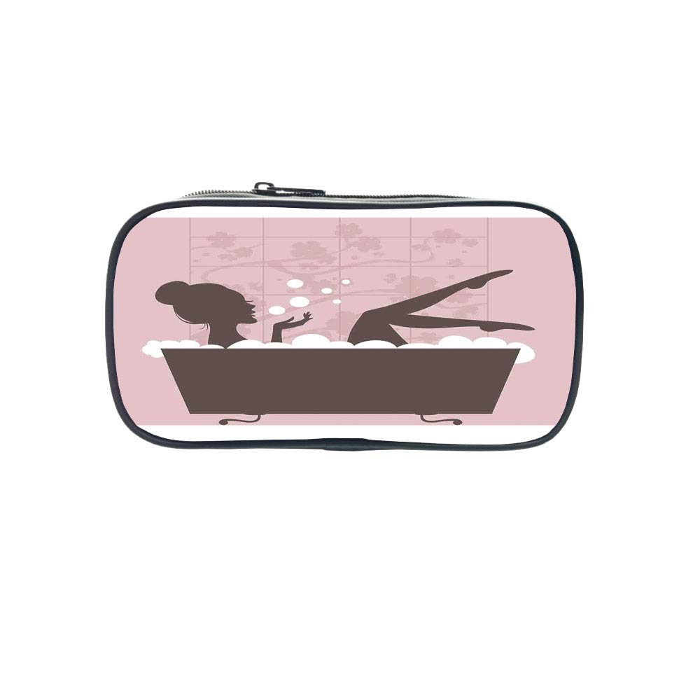 Polychromatic OptionalPen Bag,Teens Girls,Beautiful Woman in Bath Tub Spa Treatment Relaxing Concept Vintage Style,Pink Dark Grey,for Kids,Diversified Design